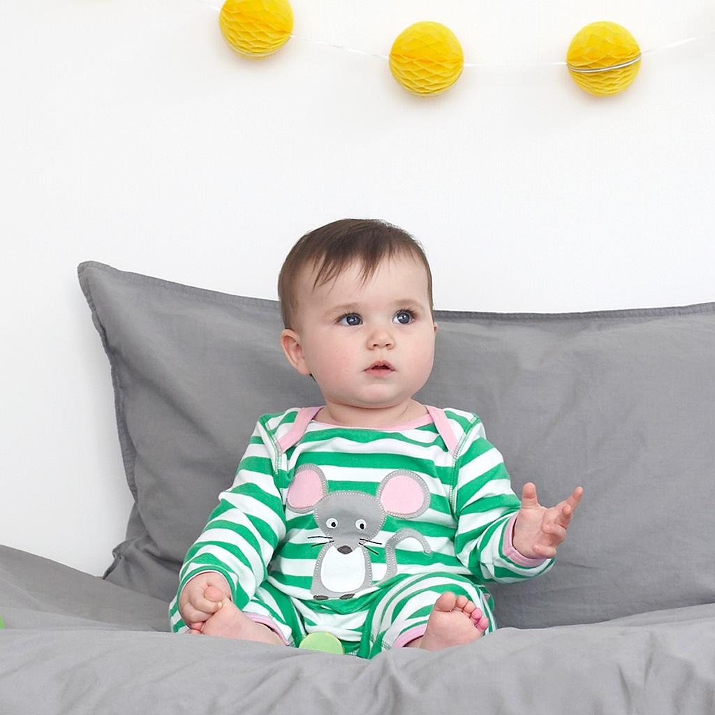 Toby Tiger Mouse with Cheese Sleepsuit 3-6m 68cm Green//White