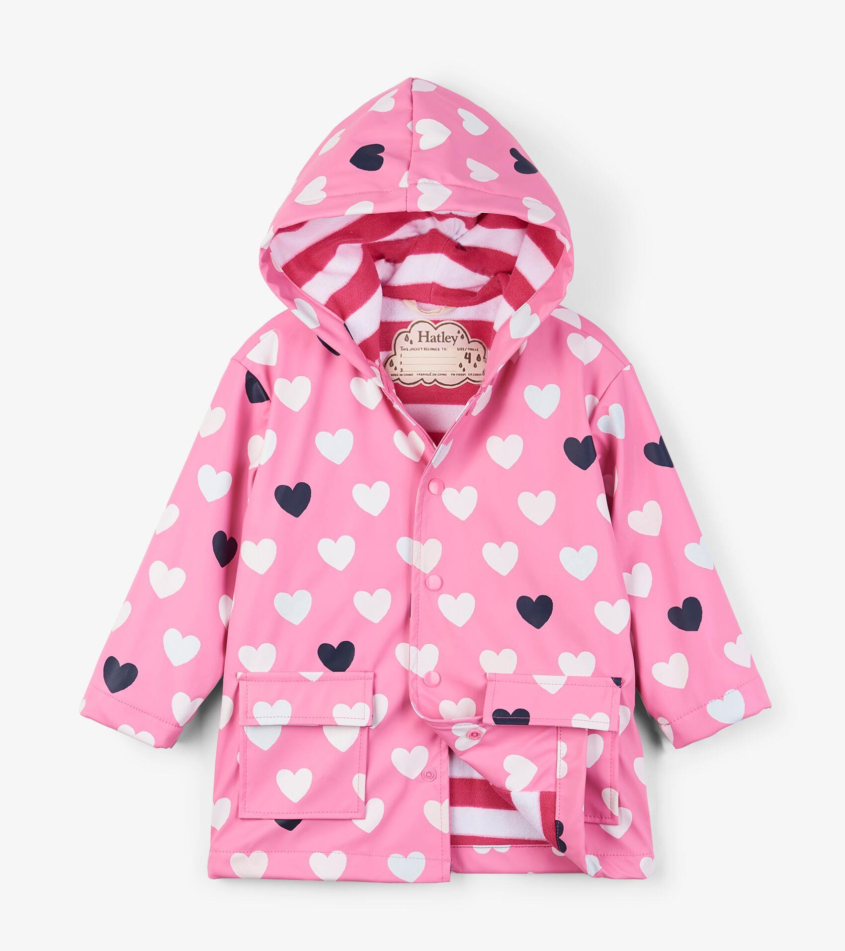 Color Changing Striped Hearts 8 Years Hatley Girls Splash Jacket