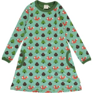 Aw19 Maxomorra Busy Squirrel Long Sleeve Dress