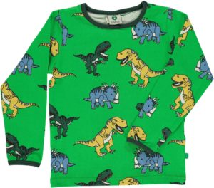 Aw19 Smafolk Apple Green Dinosaur Print Long Sleeve Top
