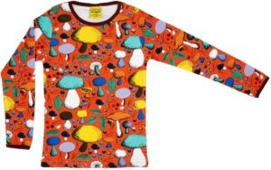 Aw19 Duns Of Sweden Orange Mushroom Long Sleeve Top