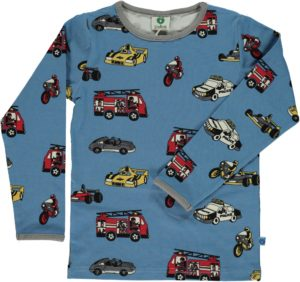 AW Smafolk Winter Blue Cars Print Long Sleeve Top