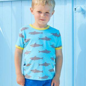 SS20 Toby Tiger Shark Print Short Sleeve Top