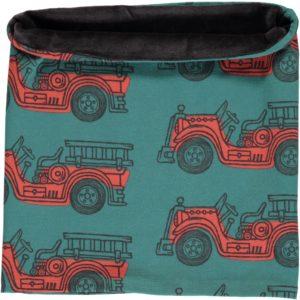 Aw19 Maxomorra Vintage Fire Trucks Velour Lined Tube Scarf