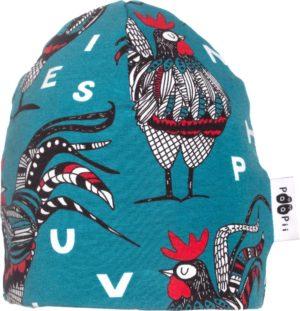 Paapii Petrol Rooster Beanie Hat