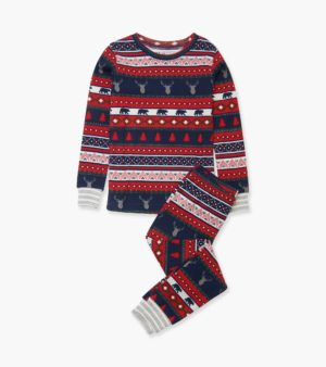 AW20 Hatley Fair Isle Stags Organic Cotton Pyjamas