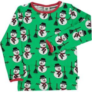 Smafolk Apple Green Snowman Print Long Sleeve Top