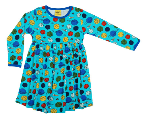Duns of Sweden Blue Small Planets Long Sleeve Gathered Dress