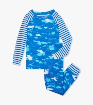 Hatley Shark Camo Organic Cotton Raglan Pyjamas
