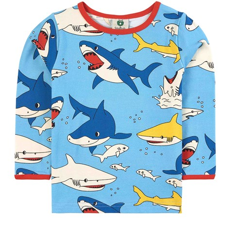Smafolk Blue Grotto Shark Print Long Sleeve Top