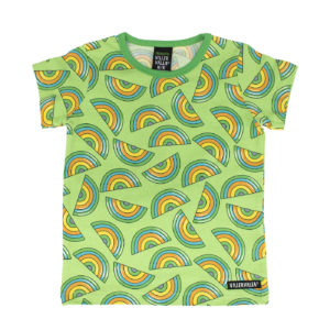 Villervalla Light Pea Rainbow Print Short Sleeve Top