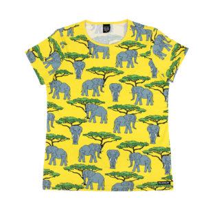 Smafolk Yellow Elephant Print ADULT Short Sleeve Top