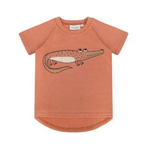Dear Sophie Brick Red Crocodile Short Sleeve Top