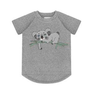 Dear Sophie Grey Melange Koala Short Sleeve Top