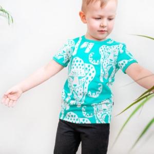 Paapii Turquoise Cheetah Print Visa T Shirt