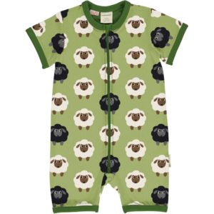 Maxomorra Green Sheep Print Short Rompersuit