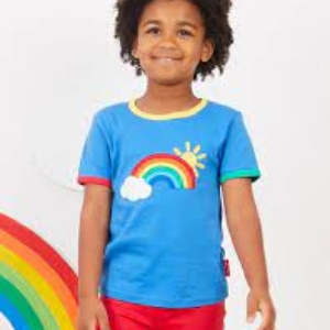 Toby Tiger Rainbow Applique Short Sleeve Top