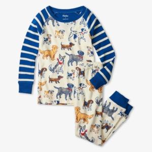 Hatley Blue Pups Organic Cotton Raglan Pyjamas