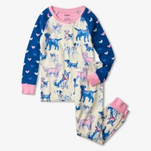 Hatley Pink Pups Organic Cotton Raglan Pyjamas