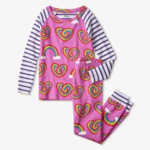 Hatley Twisty Rainbow Hearts Organic Cotton Pyjamas